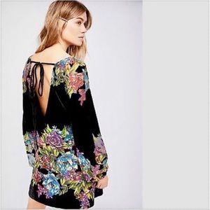 Free People Dresses Free People Misha Black Velvet Floral Dress Size S